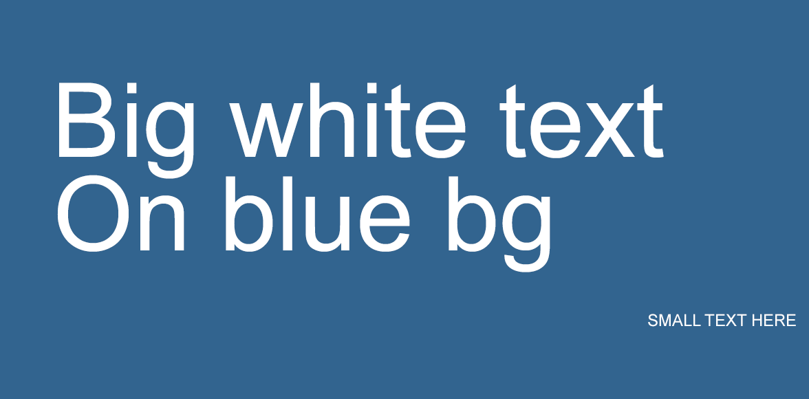 Big blue background with white text